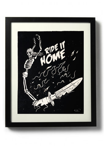 RIDE,IT,HOME,-,Original,relief.,Hand,finished,,hand,printed,Linocut, Rocco Malatesta, Illustrator, Poster, Movie Poster, fine art print, archival ink, archival paper.