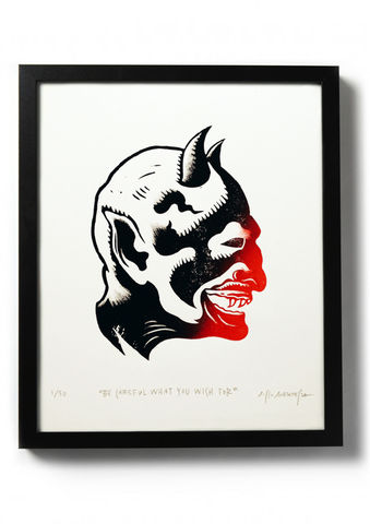 BE,CAREFUL,WHAT,YOU,WISH,FOR,-,Original,relief.,Hand,printed.,Linocut, Rocco Malatesta, Illustrator, Poster, Movie Poster, fine art print, archival ink, archival paper.