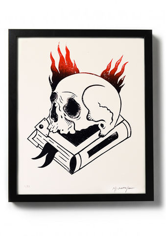 VANITAS,-,Original,relief.,Hand,printed.,Linocut, Rocco Malatesta, Illustrator, Poster, Movie Poster, fine art print, archival ink, archival paper.