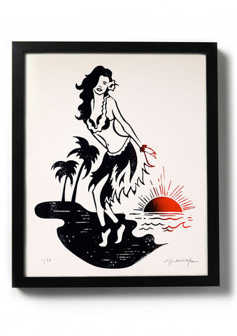 ALOHA,-,Original,relief.,Hand,printed.,Linocut, Rocco Malatesta, Illustrator, Poster, Movie Poster, fine art print, archival ink, archival paper.