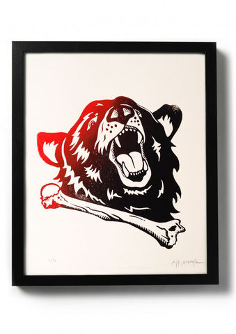 URSUS,-,Original,relief.,Hand,printed.,Linocut, Rocco Malatesta, Illustrator, Poster, Movie Poster, fine art print, archival ink, archival paper.