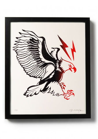 EAGLE,-,Original,relief.,Hand,printed.,Linocut, Rocco Malatesta, Illustrator, Poster, Movie Poster, fine art print, archival ink, archival paper.