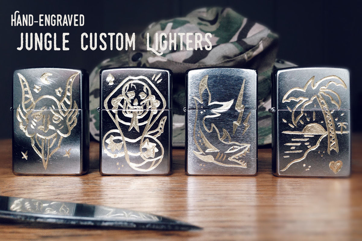 "JUNGLE ""Shark"" - Custom Hand Engraved Lighter - product images  of"