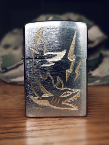 JUNGLE,Shark,-,Custom,Hand,Engraved,Lighter,Rocco Malatesta, art, handmade, illustration, design, gadget, tattoo, traditional, ink
