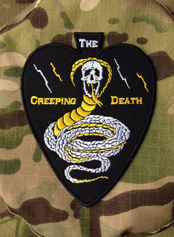 The,Creeping,Death,(embroidered,patch),t-shirts, buy t-shirts, tshirt, tee, Rocco Malatesta, art, handmade, illustration, design, gadget, tattoo, traditional, ink, apparel, print, skull
