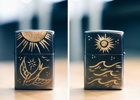 SWALLOW,-,Custom,Hand,Engraved,Lighter,(FRONT/BACK),Rocco Malatesta, art, handmade, illustration, design, gadget, tattoo, traditional, ink