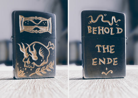 BEHOLD,THE,ENDE,-,Custom,Hand,Engraved,Lighter,(FRONT/BACK),buy t-shirts online, traditional illustration, traditional tattoos, lighter, zippo