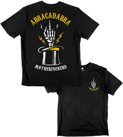 ABRACADABRA,2017,buy t-shirts online, traditional illustration, traditional tattoos, tattoos t-shirts, abracadabra, motherfucker, graphic t-shirts store, rocco malatesta