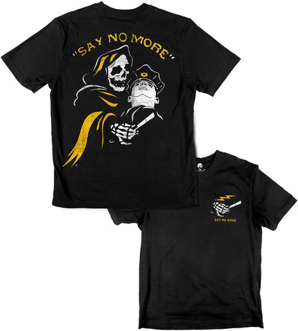 SAY,NO,MORE,buy t-shirts online, traditional illustration, traditional tattoos, tattoos t-shirts, barber, saynomore, reaper, graphic t-shirts store, rocco malatesta