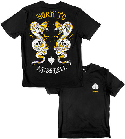 BORN,TO,RAISE,HELL,buy t-shirts online, traditional illustration, traditional tattoos, tattoos t-shirts, graphic t-shirt, cobra, snake t-shirt, rocco malatesta