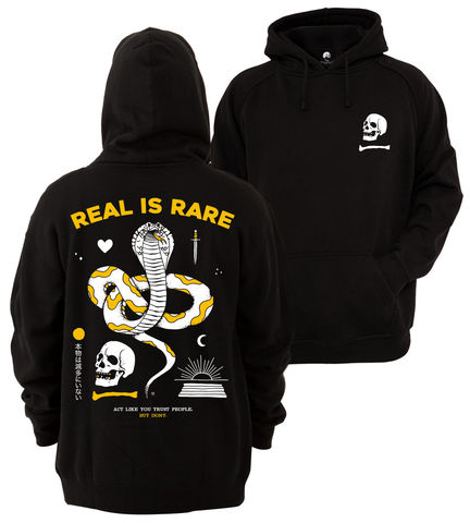 REAL,IS,RARE,Hoodie,buy t-shirts online, traditional illustration, traditional tattoos, tattoos t-shirts, real, graphic t-shirts store, rocco malatesta