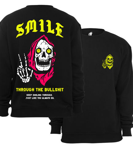 Smile,Crewneck,buy t-shirts online, traditional illustration, traditional tattoos, tattoos t-shirts, smile, graphic t-shirts store, rocco malatesta, smiley, haze for days
