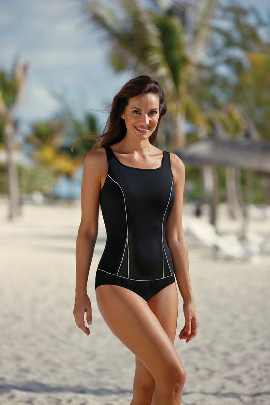 Black and White Mastectomy Tankini - product images  of