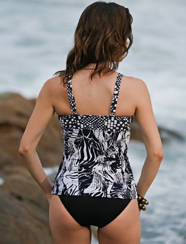 Black and White Toldeo Mastectomy Tankini - product images  of