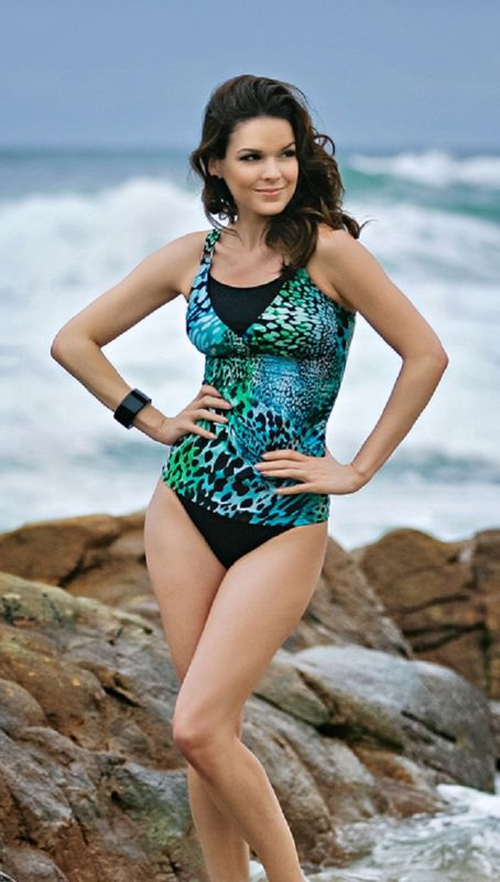 Aqua Animal Print Toldeo Mastectomy Tankini - Size 8 only - product images  of