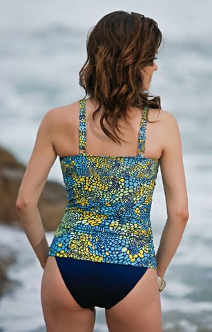 Aqua Yellow and Blue Toldeo Mastectomy Tankini - product images  of