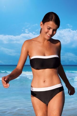Black,&,White,Bandeau,Mastectomy,Bikini,Mastecomy pocketed Java bikini post surgery S704