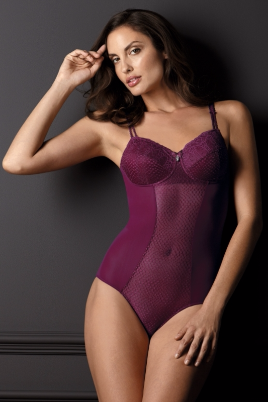 Louise Mastectomy Body Suit - Burgundy - product images  of