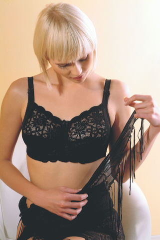 Orchid Mastectomy Bra - Black Left Pocket - product images  of