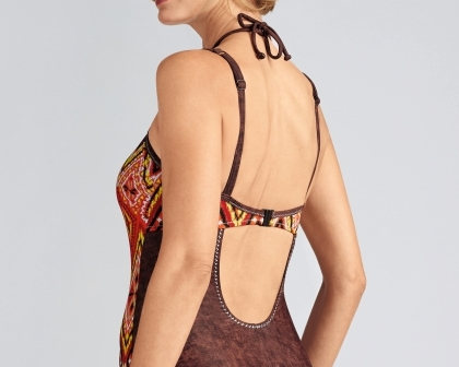 Kos Orange and Brown Tribal Printed Mastectomy Swimsuit  - product images  of