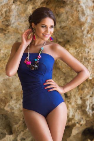 Fornia Navy Mastectomy Bandeau Swimsuit  - product images  of