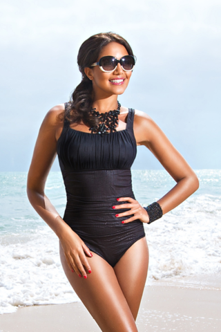 Rofia,Black,Lava,Mastectomy,Swimsuit,Mastecomy Swimsuit, one piece Rofia, Black Swimsuit, Lava, 351-87M-LA