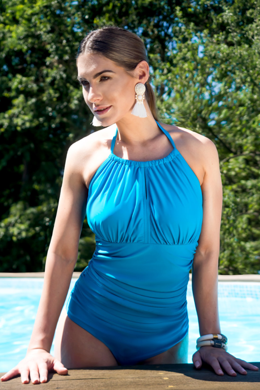 Dive High Neck Mastectomy Swimsuit - Ocean Blue - product images  of