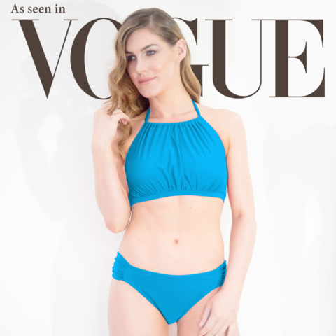 Dive High Neck Mastectomy Bikini - Ocean Blue - product images  of