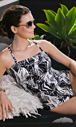 Belize Black & White Mastectomy Swimsuit - product images  of