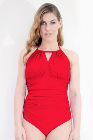Dive,High,Neck,Mastectomy,Swimsuit,-,Coral,Red,Mastectomy swimsuit, Dive post-surgery swimsuit red CL2 SW1, clover lewis, high neckline mastectomy swimsuit, I need a swimsuit to cover my high mastectomy scars