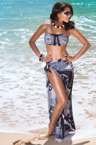 Algarve Long Black and White Sarong - product images  of