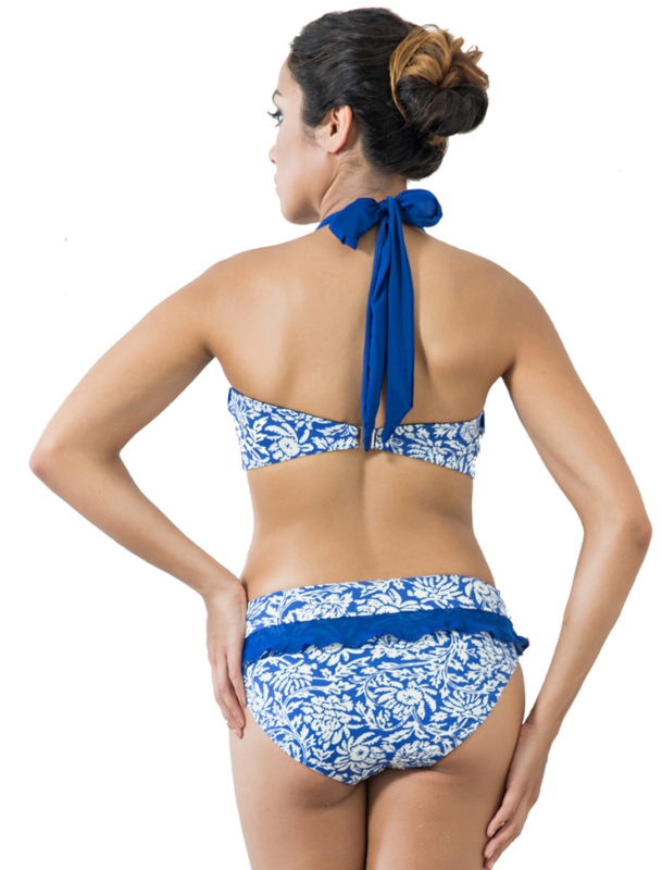 Blue and White Lalos Print Mastectomy Bikini - product images  of
