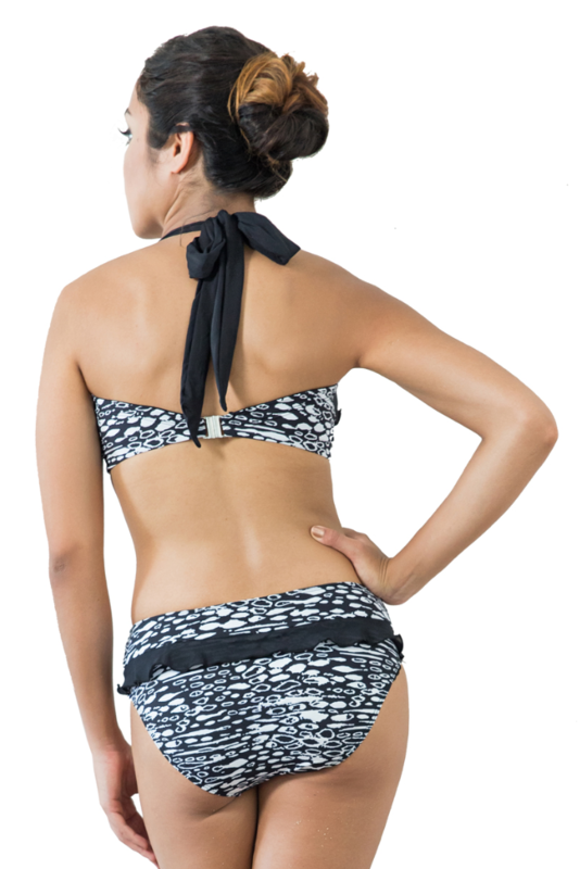 Black and White Lalos Print Mastectomy Bikini - product images  of