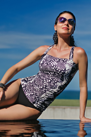 Black and White Elena Cross Back Mastectomy Tankini - product images  of
