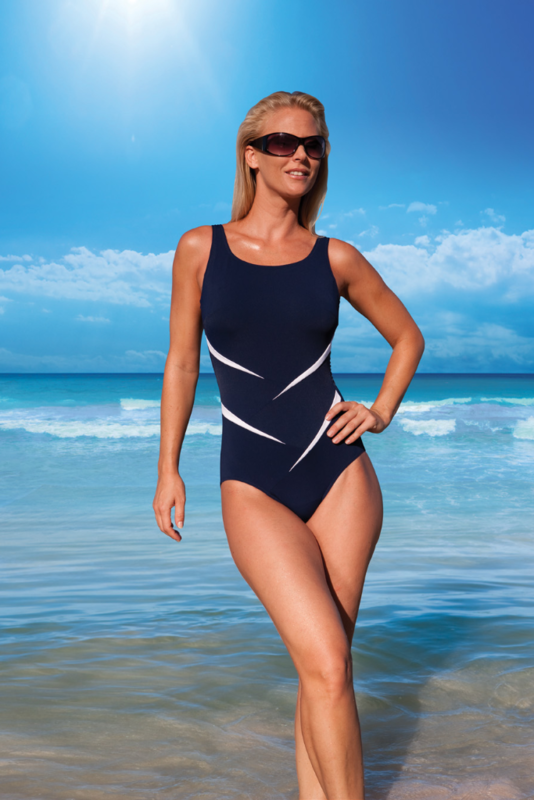 Lindo Navy Twist Mastectomy Swimsuit - Longer Length - Size 10 UK - product images  of