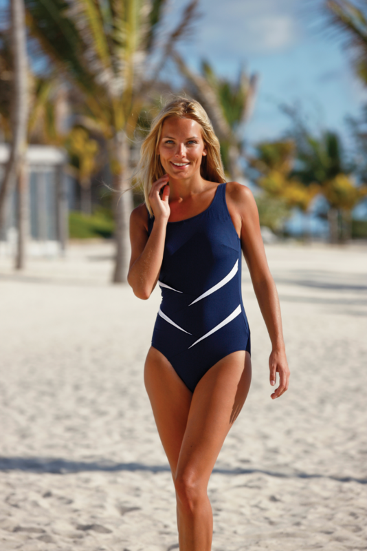 Lindo Navy Twist Mastectomy Swimsuit - Longer Lenght - product images  of