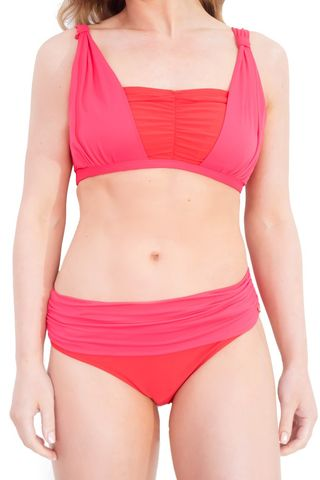 La,Victorie,Rushed,Mastectomy,Bikini,-,Coral,Red,and,Pink,Mastectomy bikini, La Victorie bikini, designer mastectomy swimwear, coral red mastectomy biniki, red/pink post-mastectomy bikini