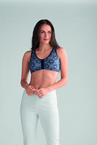 Frances Blue Python Front Fastening Post Surgery Bra  - product images  of