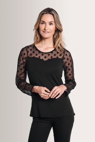 Black,Poker-Dot,Heart,Neckline,Long,Sleeve,Mastectomy,Top,44070 pocketed top, built in bra and pocketed top, mastectomy top, amoena