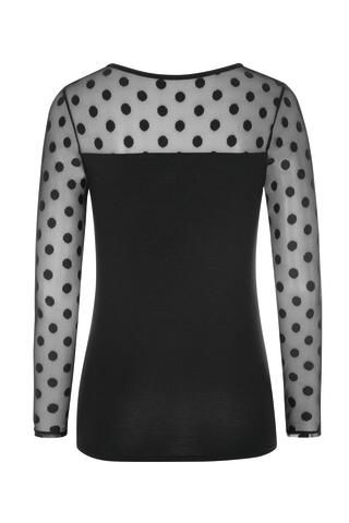 Black Poker-Dot Heart Neckline Long Sleeve Mastectomy Top - product images  of