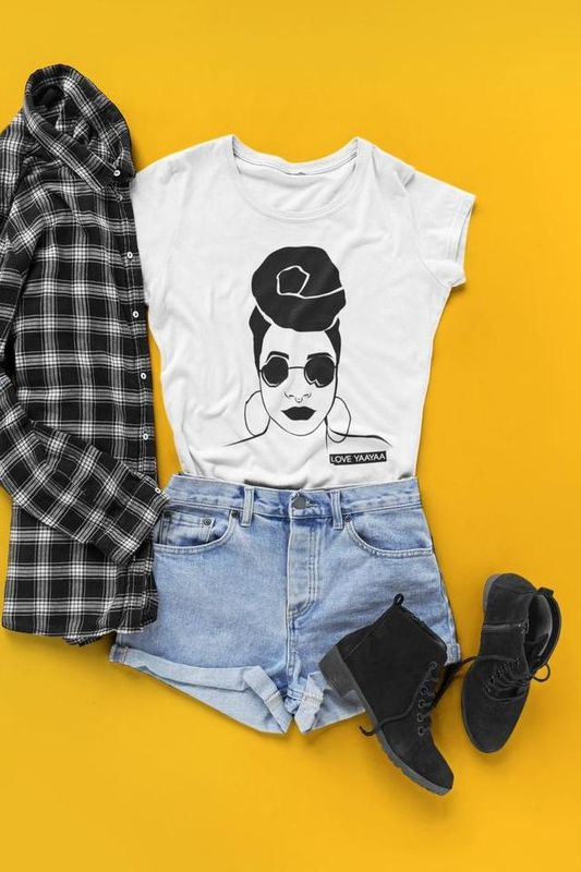 'Headwrap Babe' T-Shirt White with Black Image - product images  of