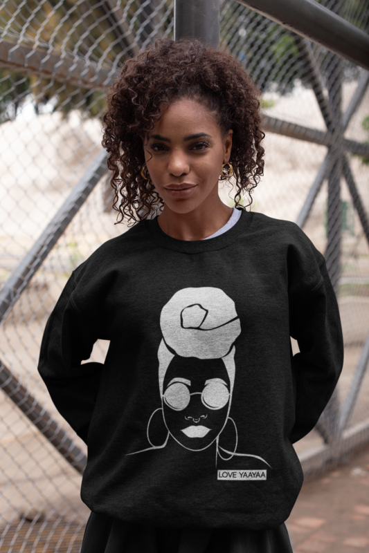 'Headwrap Babe' Jumper Black with White Image - product images  of