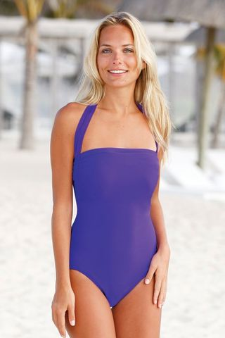 Vivid,Purple,Mastectomy,Swimsuit,-,Size,42,(UK18),halterneck Mastectomy Swimsuit, tie neck mastectomy swimsuit, Post Surgery swimwear, Mastectomy Pocketed swimsuit, Nicola Jane Swimwear
