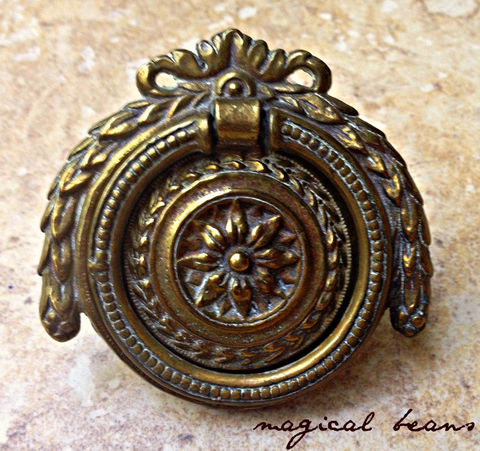 Antique,Fancy,Round,Brass,Bail,Pull,by,Keeler,Co,Antique Furniture Hardware, Antique Drawer Pulls, Fancy Pulls, Baroque Drawer Pulls, Keeler Brass Co,Period Hardware, Gold Dresser hardware, Ribbon drop pull, Leafy round drawer pull, cabinet pulls, buffet pulls, decorative hardware, furniture hardware