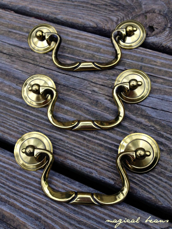 Vintage Keeler Brass Co Swan Neck Drop Bail Pull in Antiqued Brass - product images  of