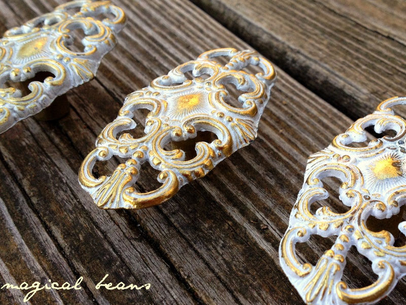 Vintage French Provincial Oval Filigree Knob in White & Gold   - product images  of