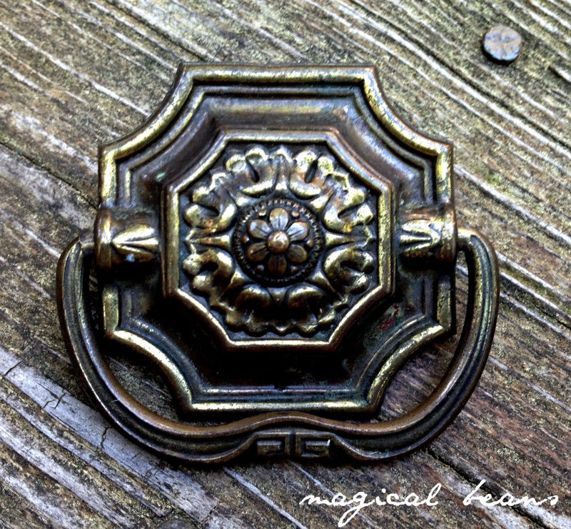 Victorian Square Drop Pull in Dark Brass  - product images  of
