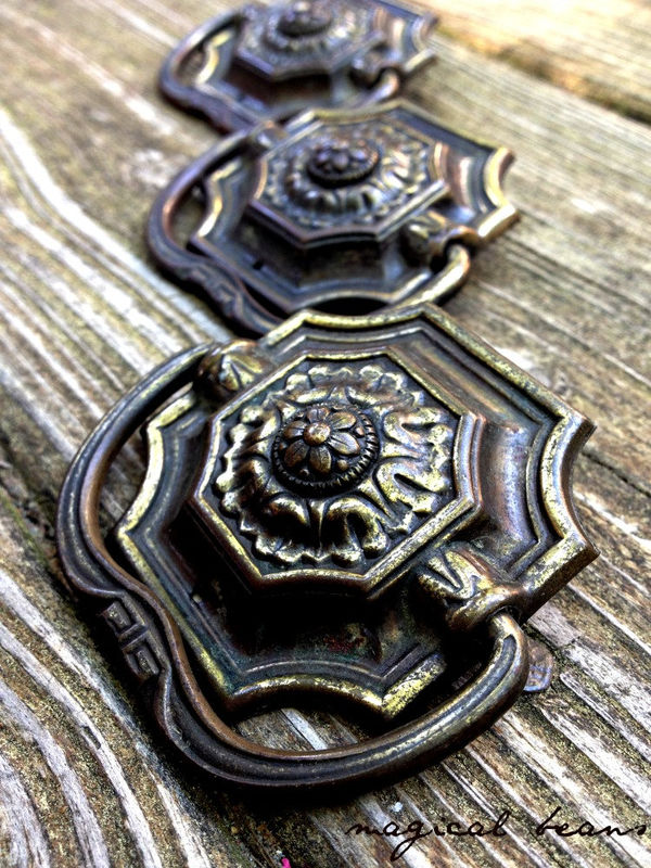 Vintage Victorian Pressed Brass Square Drop Bail Pull  - product images  of