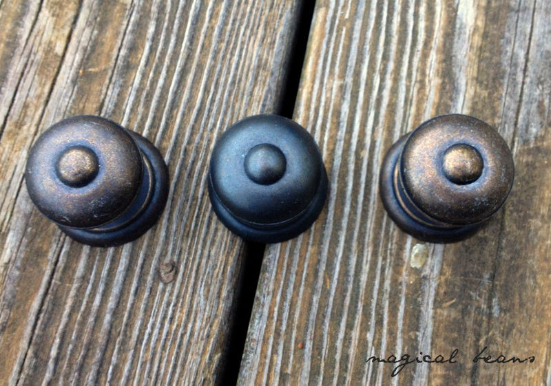 Vintage Weathered Brass Multi Ring Button Knob in Brass - product images  of