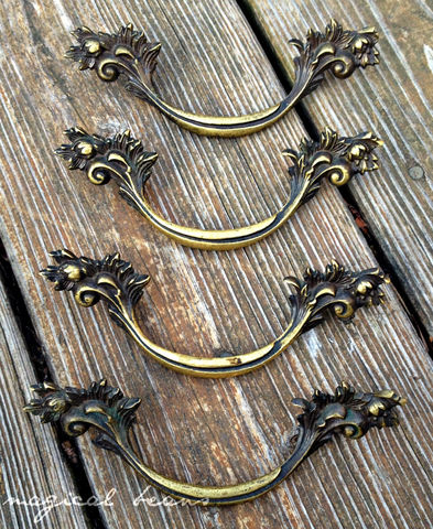 Vintage,Keeler,Brass,Co,French,Provincial,Pull,in,Solid,Antiqued,brass drawer pull, french provincial drawer pull, keeler brass co period hardware, keeler brass co drawer pulls, french vintage drawer pull handles, dresser hardware